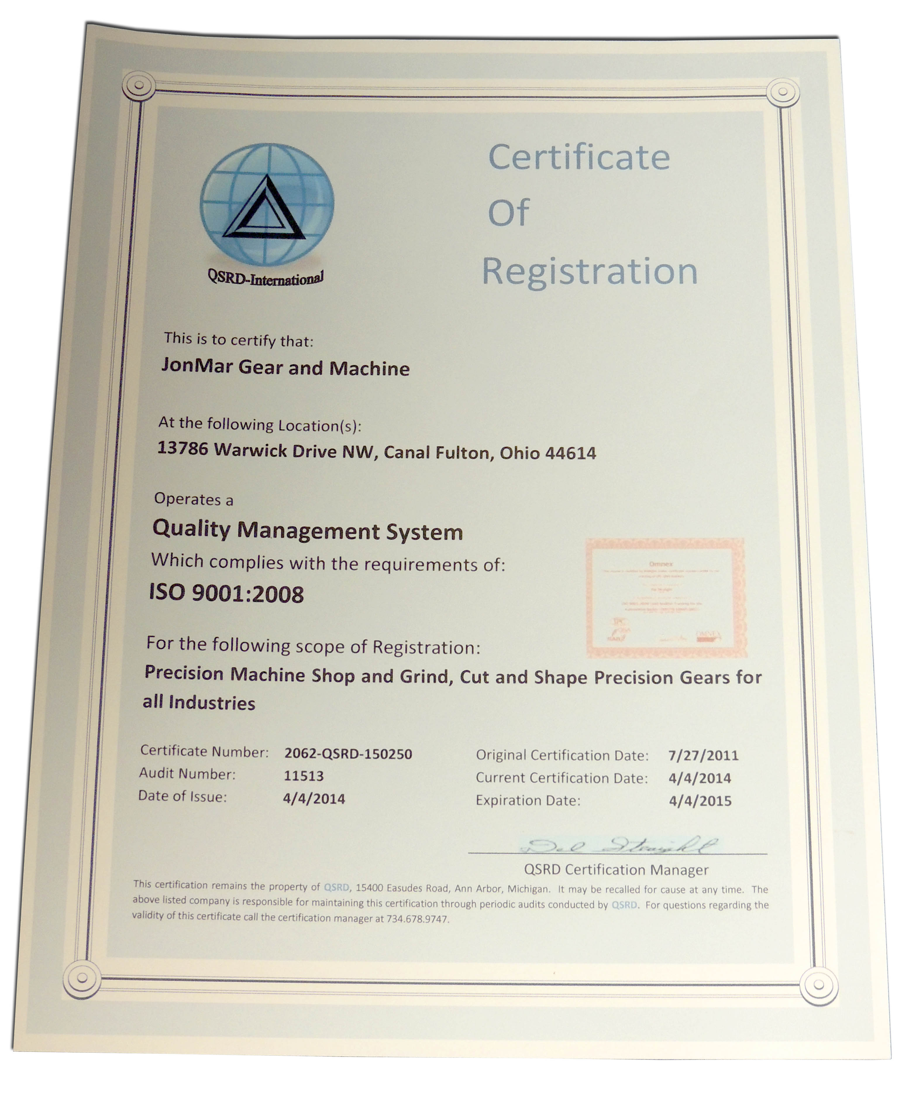 """""""ISO 9001 Certified"""" means an organization has met the requirements in ISO 9001. It defines an ISO 9000 Quality Management System (QMS). ISO 9001:2008 is focused on meeting customer expectations and delivering customer satisfaction so you must pay attention to the customer."""